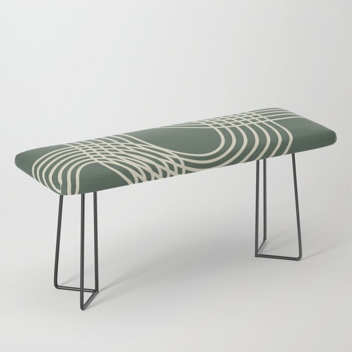Minimalist Lines in Forest Green Bench