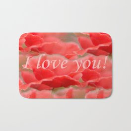 Love You! Red Poppies #decor #society6 Bath Mat