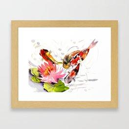 Koi Pond, feng shui koi fish art, design Framed Art Print
