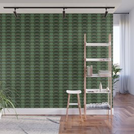 Geometric pattern with waves and pebbles in green Wall Mural