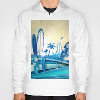 surfboard Hoodies featuring surfboard  background on sky background by Doomko