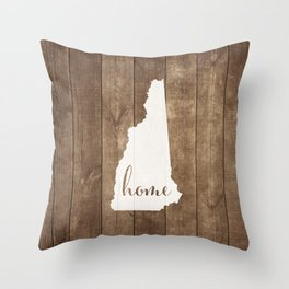 New Hampshire is Home - White on Wood Throw Pillow