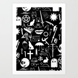 Buffy Symbology, White Art Print