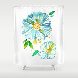 Lakeside Watercolour Blue Daisies Shower Curtain