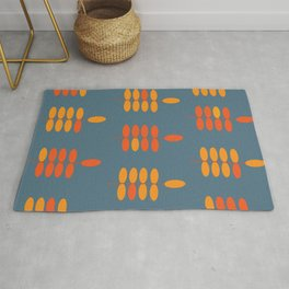 Retro Orange Leaves 2 Rug