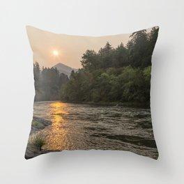Fire Sunrise on McKenzie River Throw Pillow