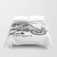 capricorn Duvet Covers featuring Capricorn by Anna Shell