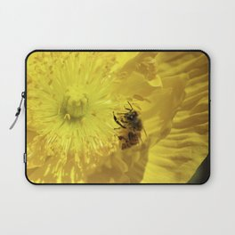 Bee in Yellow Poppy 1 Laptop Sleeve