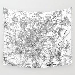 Vintage Map of Cincinnati Ohio (1915) BW Wall Tapestry