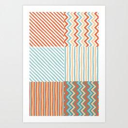 Colorful Southwestern Striped Pattern Collage Art Print