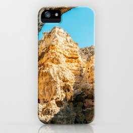 Natural Rock Formations In Lagos, Algarve Portugal, Travel Photo, Large Printable Photography iPhone Case