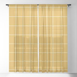 Yellow #9 Grid Stripe Lines Minimalist Geometric Line Stripes Sheer Curtain