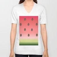 watermelon V-neck T-shirts featuring Watermelon by Julia Badeeva