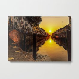 Sunset on the Naviglio Grande in the center of Milan Metal Print