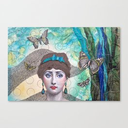 Young lady - Blue Canvas Print