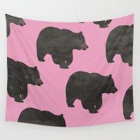 bear Wall Tapestries featuring Bear by Georgiana Paraschiv