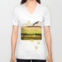 wildlife V-neck T-shirts featuring Wildlife by Sergio Silva Santos
