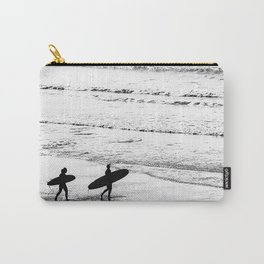 Surfers, Black and White, Beach Photography Carry-All Pouch