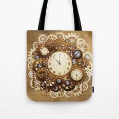 Steampunk Vintage Style Clocks and Gears Tote Bag