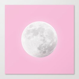 WHITE MOON + PINK SKY Canvas Print