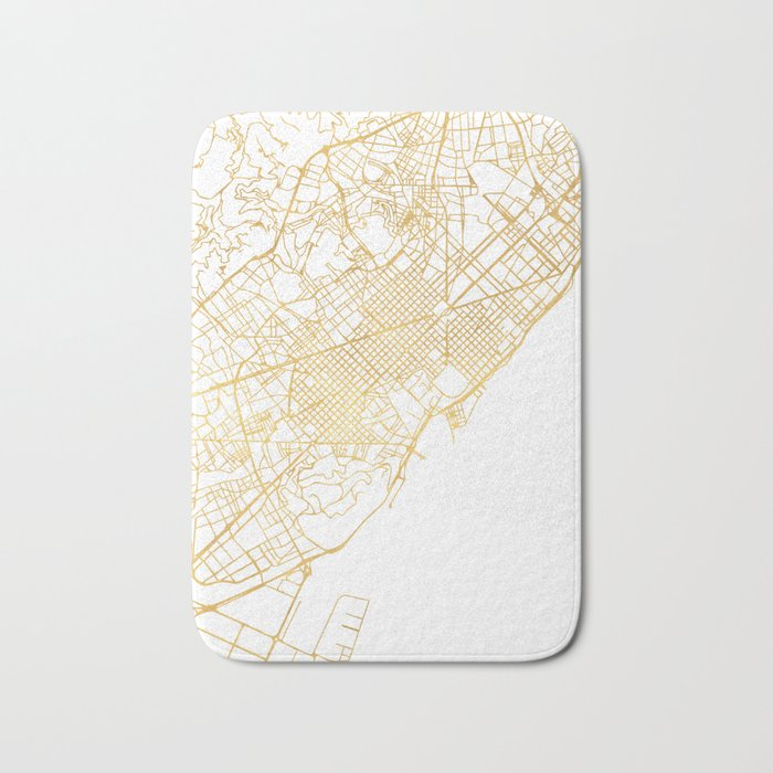 Barcelona In Spain Map.Barcelona Spain City Street Map Art Bath Mat By Deificusart Society6