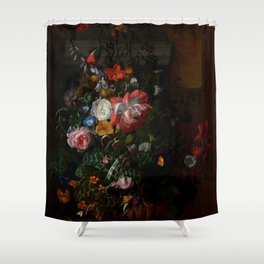 """Rachel Ruysch """"Roses, Convolvulus, Poppies, and Other Flowers in an Urn on a Stone Ledge"""" Shower Curtain"""