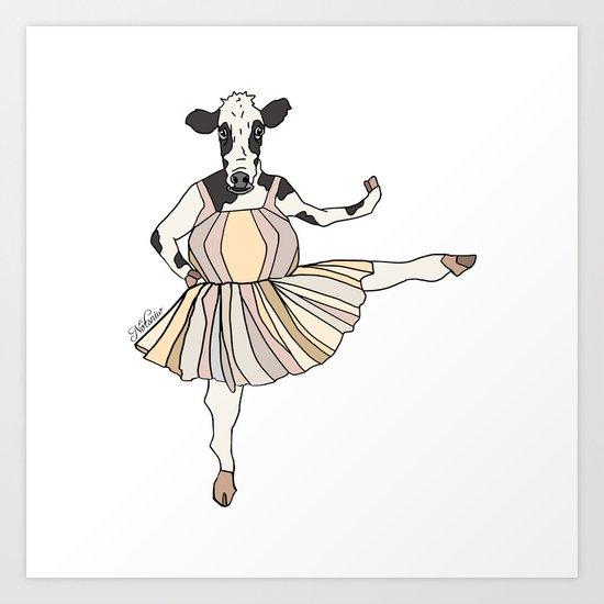 Cow Ballerina Tutu Art Print
