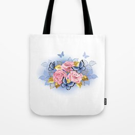 Three Pink Roses with Butterflies Tote Bag