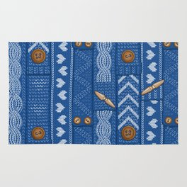 Scarves Knitted Buttoned - Blue Rug