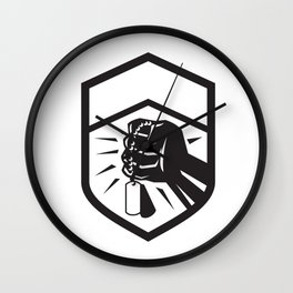 Clenched Fist Holding Dogtag Crest Retro Wall Clock