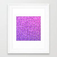 mosaic Framed Art Prints featuring Pink purple mosaic by David Zydd