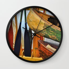 Oars and Canoes Wall Clock
