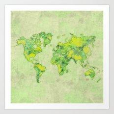 World Map Green Vintage Art Print