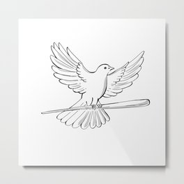 Pigeon or Dove Flying With Cane Drawing Metal Print