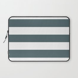 Stormcloud -  solid color - white stripes pattern Laptop Sleeve