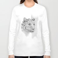 leopard Long Sleeve T-shirts featuring Leopard by Anna Tromop Illustration