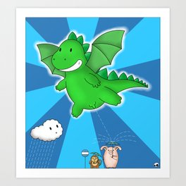 Godzilla rains first! Art Print