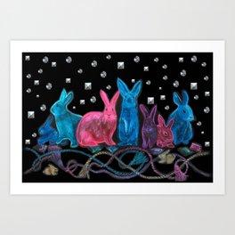 Jewel Tone Bunnies with Trompe L'oeil Studs and Tassels Art Print