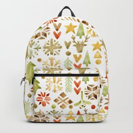 Winter forest scandinavian background Backpack