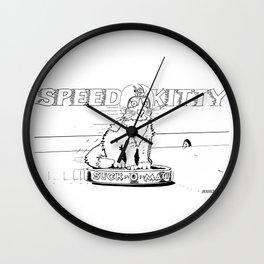 Speed Kitty Monochrome Wall Clock