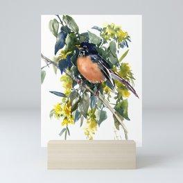 American Robin on Linden Tree, Deep blue Cottage Woodland style design Mini Art Print