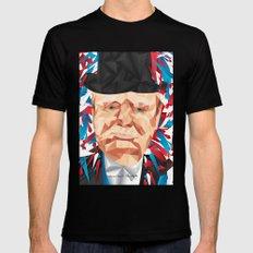 Portrait of Sir Winston Churchill Black Mens Fitted Tee MEDIUM