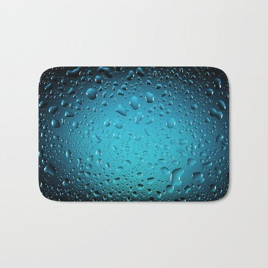 Stylish Cool Blue water drops Bath Mat