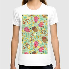 Colorful fall leaves collage pattern T-shirt