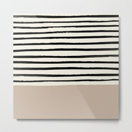 Latte & Stripes Metal Print