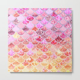 Rosegold & Gold Trendy Glitter Mermaid Scales Metal Print