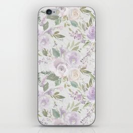 Lavender pastel green white watercolor floral pattern iPhone Skin