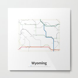 Highways of the USA – Wyoming Metal Print