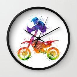 Boy Motocross Trick Colorful Watercolor Art Gift Dirt Bike Wall Clock