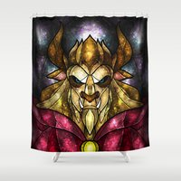 beast Shower Curtains featuring The Beast by Mandie Manzano